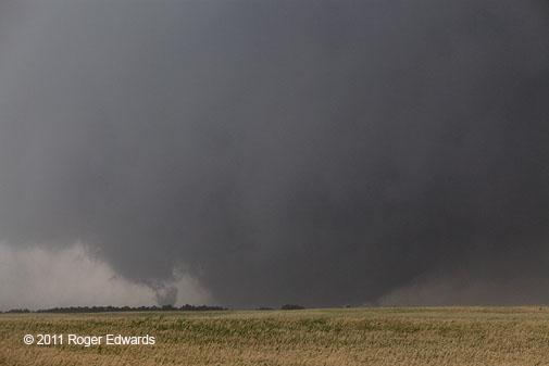 Piedmont Tornado -- Rain Wrapping Wedge with Satellite Vortex