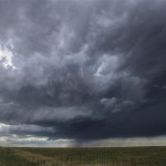 Storm getting organized west of Burns, Wyoming.