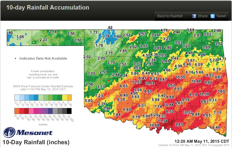 Mesonet rainfall from May 1 to May 10, 2015