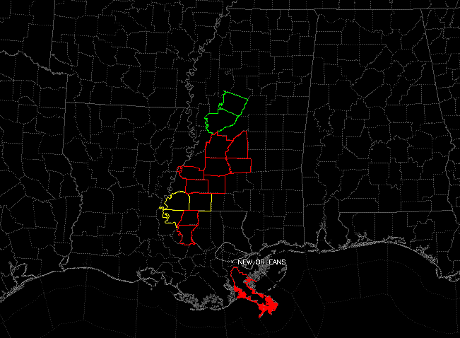 Tornado Warnings in red.