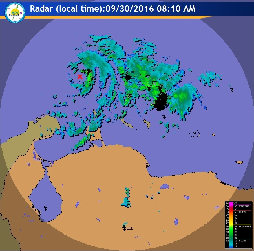 Not a radar that I get to use very often.  The eye of Matthew is clearly visible from weather radar at Curacao.  Curacao is a small island country just north of Venezuela.