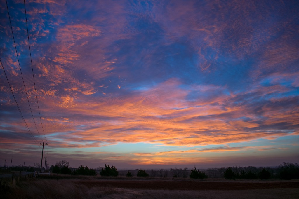 Sunrise January 10th between Okarche and Oklahoma City.